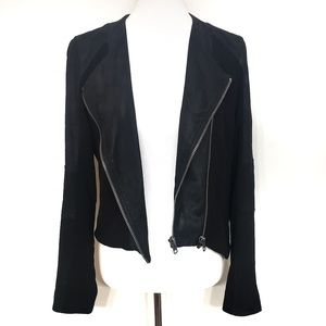 Helmut Lang Black Lamskin Leather Moto Jacket